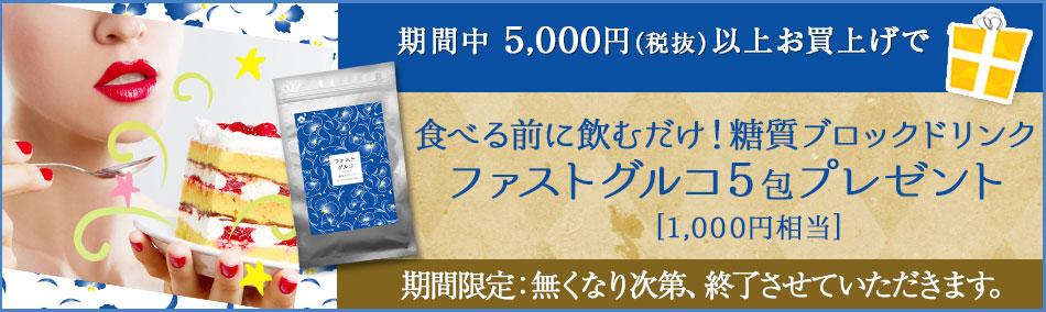 5,000円以上お買い上げで、【ファストグルコ5包】プレゼント★